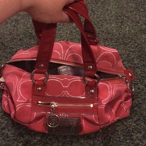 Red Coach Poppy Bag with detachable shoulder strap